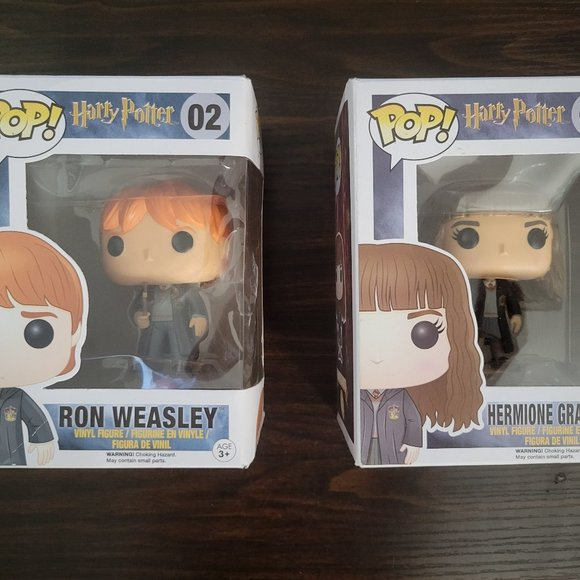 Ron and Hermione Funko Pops